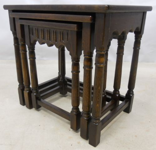 Antique Jacobean Style Nest of Three Oak Coffee Tables - SOLD